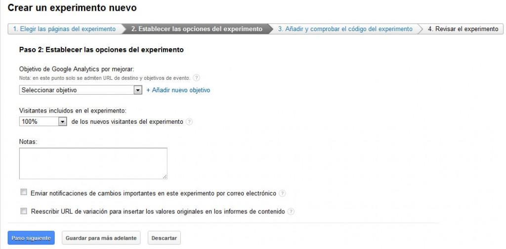 google analytics experimentos de contenido